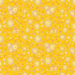 Vector yellow sunflowers and bees repeat pattern texture with orange outlines. Suitable for gift wrap, textile and wallpaper.