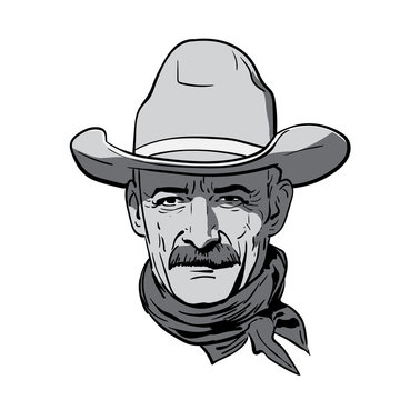Man face with cowboy hat. Western. Portrait. Digital Sketch Hand Drawing Vector. Illustration.
