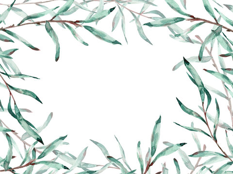 Watercolor frame of pussy willow branches with copy space. Illustration.