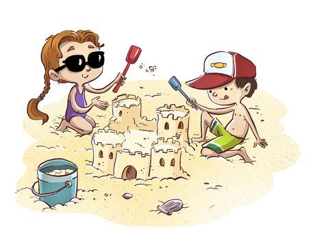 niños haciendo castillo en la playa