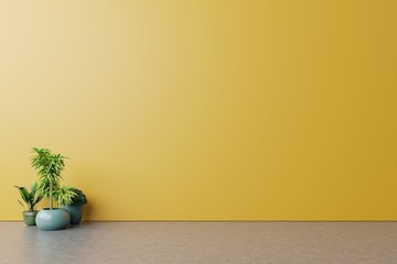 Empty room with plants mockup have wooden floor on yellow wall Background,3D rendering Wall mural