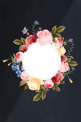 Floral framed badge