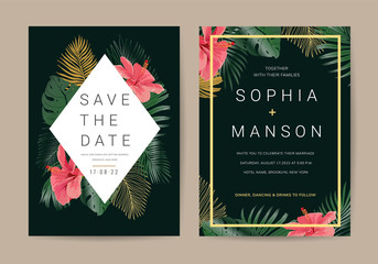 Wall Mural - Wedding invitation,Thank You Card, rsvp, posters design collection with marble texture background,Geometric Shape,Gold and Tropical Leaves design - Vector