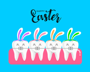 Teeth with braces and rabbit ear. Orthodontic braces in Easter concept. Vector illustration isolated on blue background.