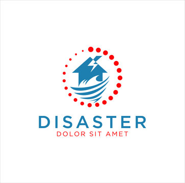 logo for home improvement after a disaster . Natural Disaster Logo Template . House Restore Disaster Logo Design. after disaster property maintenance repair house vector. home restoration logo design