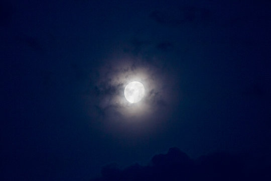 Waxing Gibbous moon with clouds