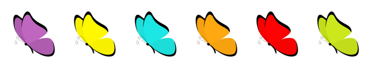 Butterfly icon set. Colorful blue red yellow green orange violet wings. Cute cartoon kawaii funny character. Flying insect silhouette. Flat design. Baby clip art. White background. Isolated