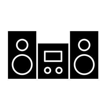 Stereo solid icon. Stereo system vector illustration isolated on white. Cassette player glyph style design, designed for web and app. Eps 10.