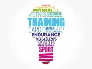TRAINING light bulb word cloud, fitness, sport, health concept