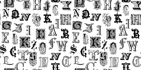 Vintage engraved letters seamless background