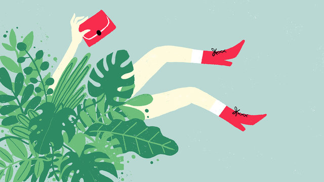Woman legs and plants