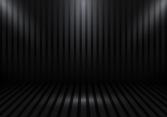 3D empty studio room show booth for designers with stripes and spotlight on black gradient background. Display your product or artwork.