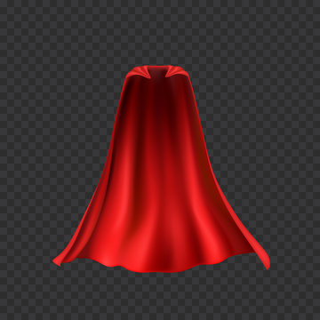 Cape set isolated on transparent background. Red superhero cloak. Vector silk flying super hero cloth.