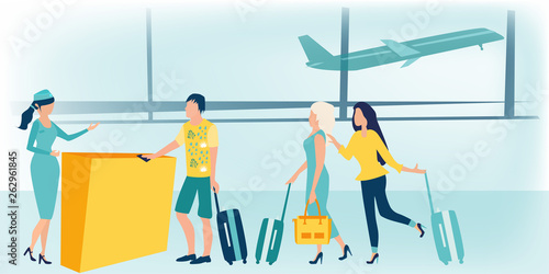 Super Man And Woman Standing With Luggage At Airport Check In Download Free Architecture Designs Xerocsunscenecom