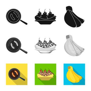Vector illustration of natural and vegetarian sign. Set of natural and eating stock vector illustration.