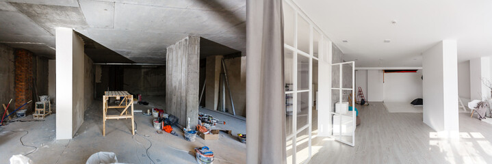 Obraz flat renovation, empty room before and after refurbishment old and new interior - fototapety do salonu