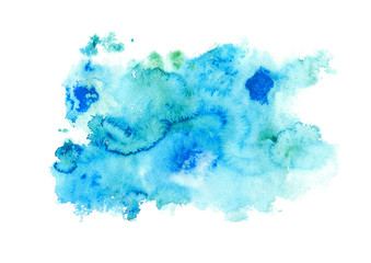 Blue watery illustration. Abstract watercolor hand drawn image.Wet splash.