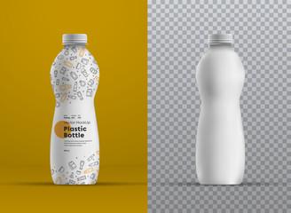 Vector realistic mockup plastic curved bottle for juice, yogurt, kefir or milk.