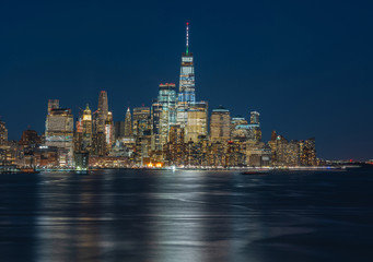 Fotomurales - Panorama New york cityscape river side at twilight time, USA, Architecture and building with tourist concept