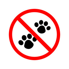 not Animal. No Dog paw sign icon. Pets symbol. Red prohibition. on white background. regulatory warning stop. Vector illustration