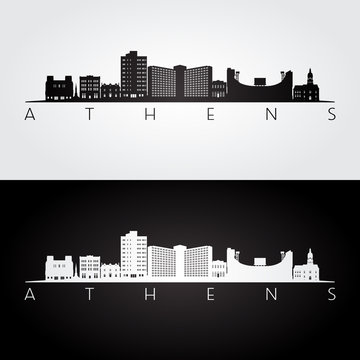 Athens, Georgia USA skyline and landmarks silhouette, black and white design, vector illustration.