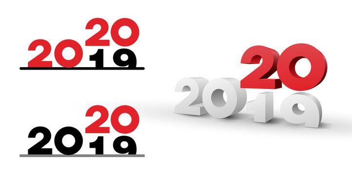 2019-2020 change represents the new year 2020. Happy New Year. Vector illustration. Isolated on white background.