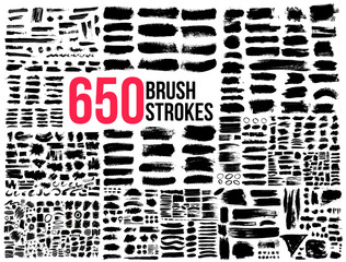 Big Collection 650 of black paint, ink brush strokes, brushes, lines. Dirty artistic design elements. Vector illustration. Isolated on white background.