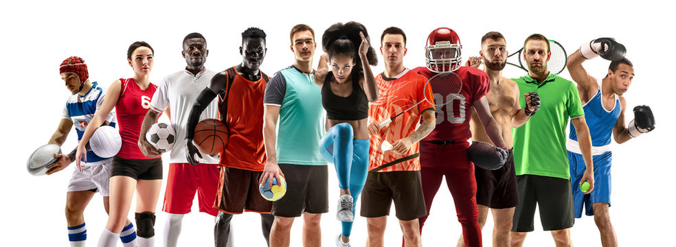 Sport collage about female athletes or players. The tennis, running, badminton, volleyball.