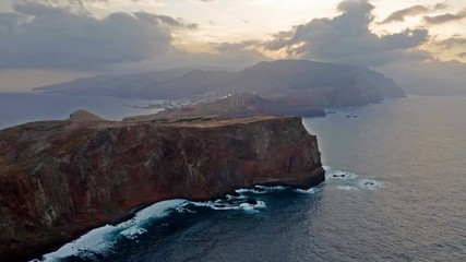 Fototapete - Beautiful mountain landscape of Seixal, Madeira island, Portugal, at sunset. Aerial view.