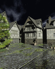 Fotomurales - Illustration of a European Mediaeval Street on a Bright Moonlit Night, 3d rendered illustration