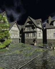 Wall Mural - Illustration of a European Mediaeval Street on a Bright Moonlit Night, 3d rendered illustration