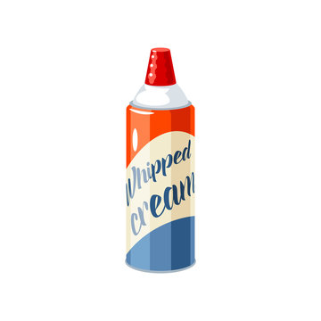 Whipped cream aerosol can. Vector illustration cartoon flat icon isolated on white.