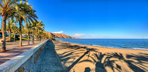 Panoramic view of the Mediterranean beach of Roquetas de Mar in southern Spain.