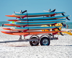 Paddle boards at the beach ready for customers
