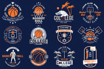 Estores personalizados con tu foto Set of basketball club badge. Vector. Graphic design for t-shirt, tee, print or apparel. Vintage typography design with basketball hoop and ball silhouette.