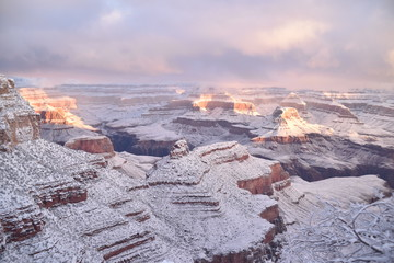 Wall Murals Dark grey Grand Canyon, AZ., U.S.A. Jan. 1, 2019. Grand Canyon National Park South Rim New Year's day with first light.