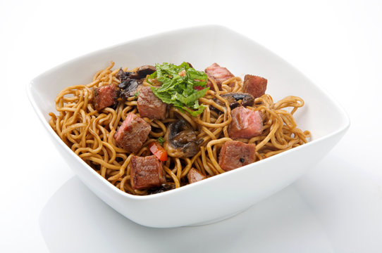 chinese noodles with meat and soy sauce