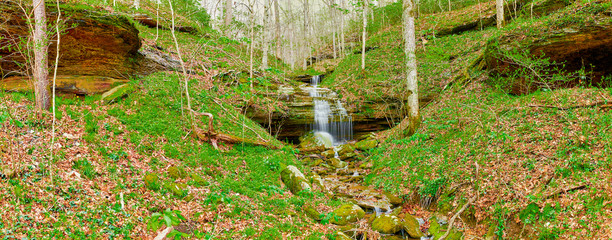 Panorama of a Double Waterfall in Early Spring Fotomurales