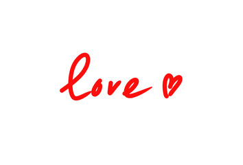 Word LOVE with abstract heart on white background