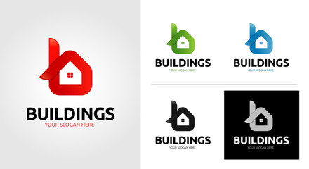 B Letter Home Logo Template Set