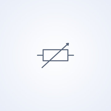 Rheostat, vector best gray line symbol