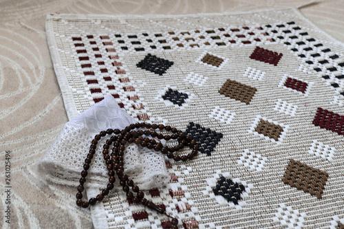 The prayer rug prayer beads prayer hat,islamic worship icons