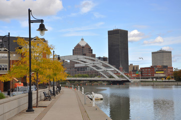 Rochester Downtown Skyline and bridge, Upstate New York, USA. Wall mural