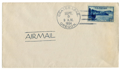 Crater lake, Oregon, The USA  - 5 september 1934: US historical envelope: cover with blue postage stamp panoramic view of Wizard Island, postal cancellation, ink inscription - airmail