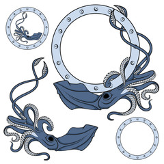 Set of color illustrations in blue with squid. Isolated vector objects on white background.