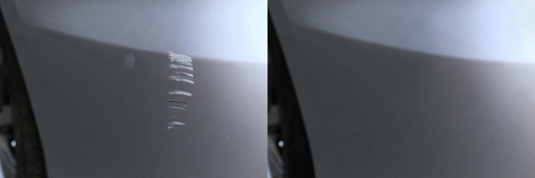 自動車の後部バンパーのキズ補修 前と後