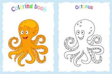 Coloring book page for  children with colorful octopus  and sketch to color. Preschool education. Vector illustration.