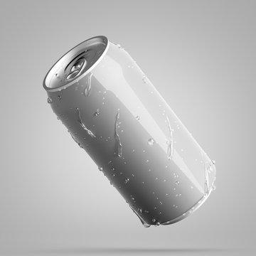 Gray diagonal aluminum can with water drops
