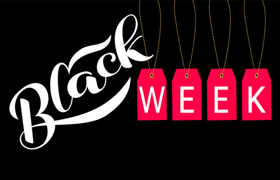 Red label with Black week  lettering. Vector illustration.