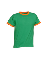 t shirt green with cuffs in orange color isolated on white background